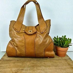Perlina LRG Leather Tote Camel Brown Animal Print